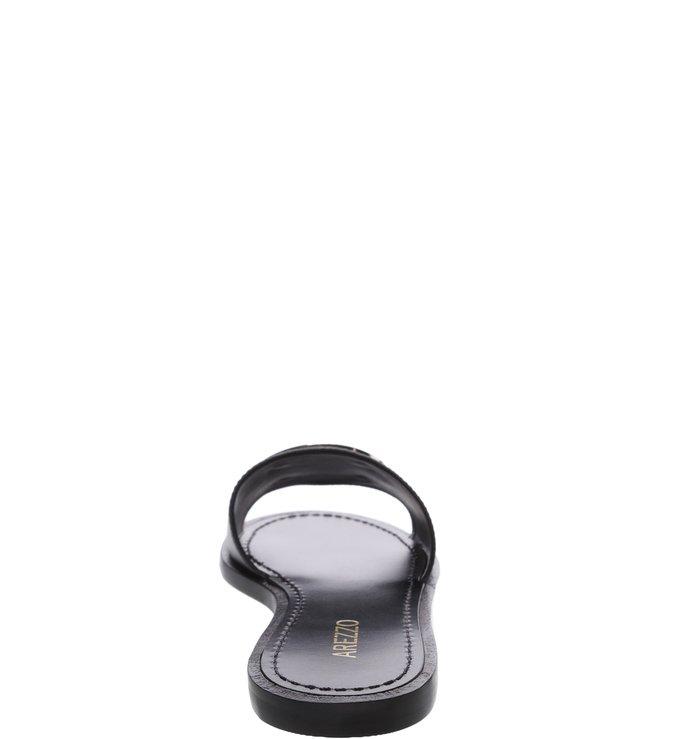Chinelo Slide Couro Metal Circular Preto