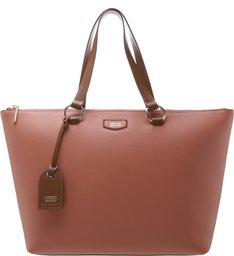 Bolsa Shopping Couro Giornata Nero Grande Rosa Nouveau e Mocca Brown