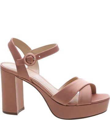 8f708e5bf6 Sandália Cetim Plataforma Rose Blush