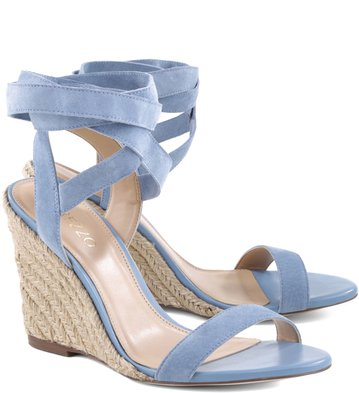 Anabela Lace-up Suede Acqua
