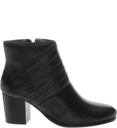 Ankle Boot  Dobra Linear Salto Bloco Preta