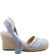 Espadrille Lace-up Bordado Acqua