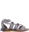 Rasteira Lace-up Bordado Boho Blue-Marine