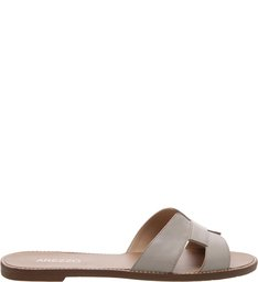 Chinelo Couro Croco H Soft Gris