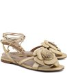 Rasteira Lace Up Flor Ouro