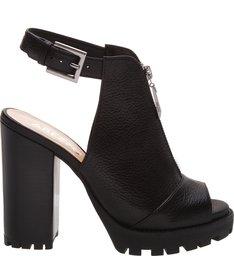 Sandal Boot Couro Meia Pata Tratorada Preta