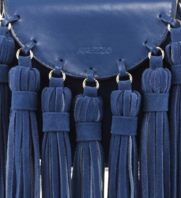 Bolsa Tiracolo Pequena Franjas Blue-Marine