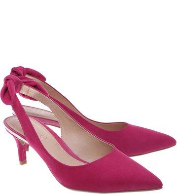 Scarpin Nobuck Salto Kitten Tiny Bow Lady Pink