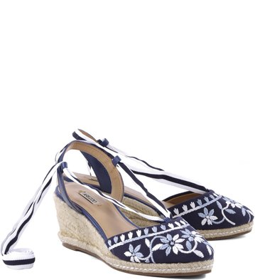 Anabela Floral Navy