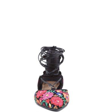 Sapatilha Lace Up Floral Negro