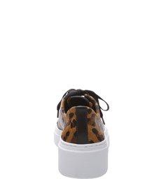 Tênis Pelo Salto Rasteiro Cadarço Animal Print Leopardo