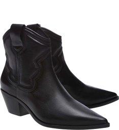 Ankle Boot Western Couro Preta