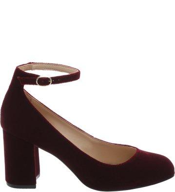 fad790e28 Sapato Boneca Vinho Veludo Tornozeleira   Arezzo