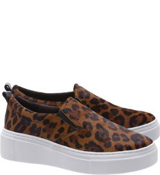 Tênis Slip On Pelo Animal Print Leopardo