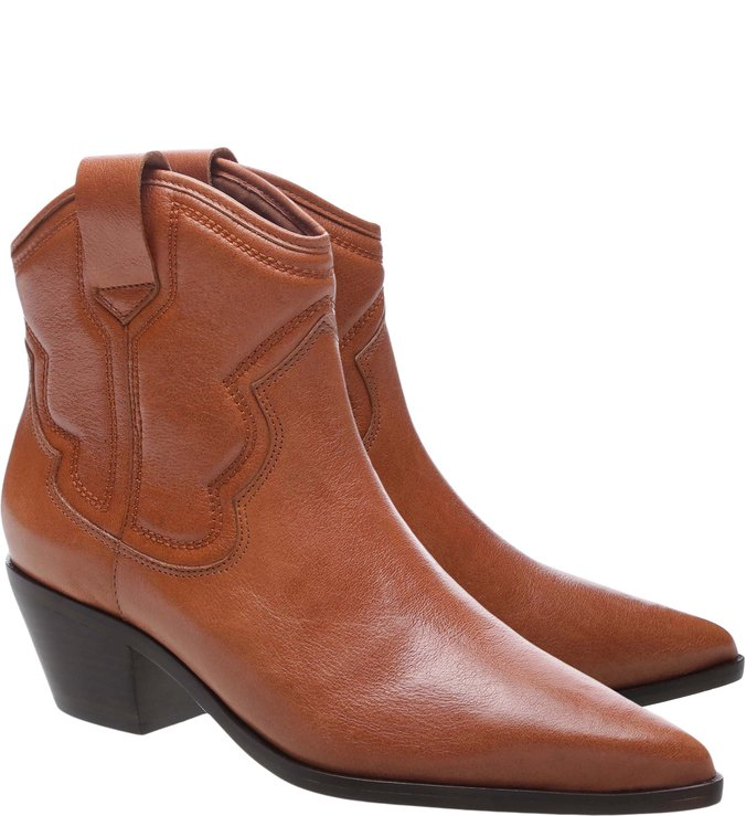Ankle Boot Western Couro Honey Nut