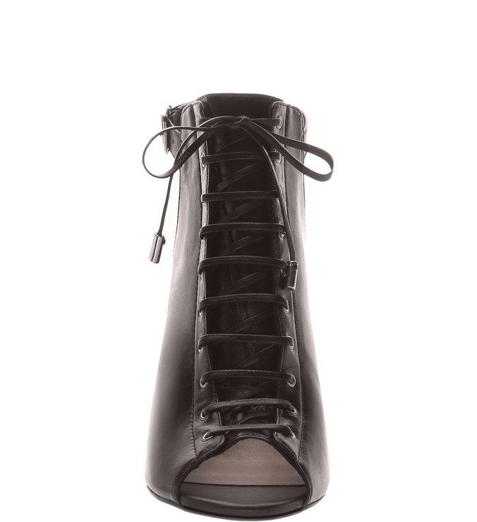 fe9e048ab Open Boot Couro Lace Up Preta | Arezzo