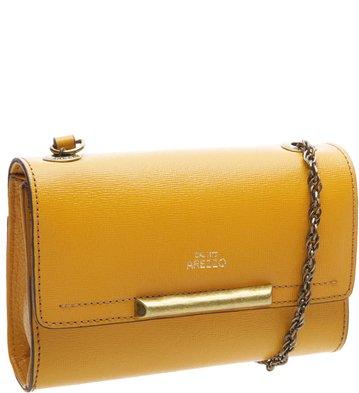 Bolsa Clutch Couro Auguri Amarela