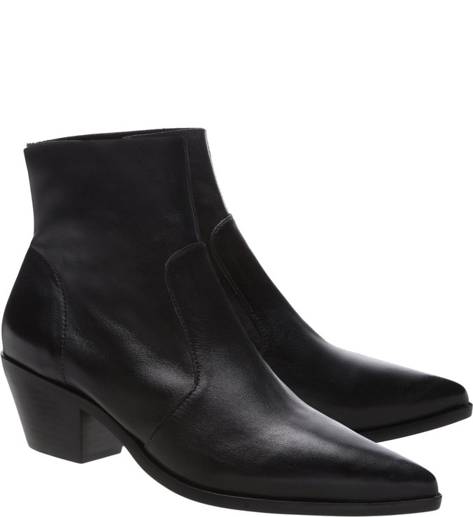 Ankle Boot Couro West Preta