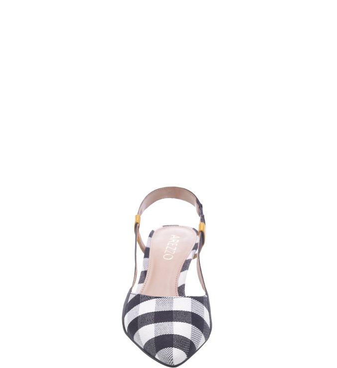 0d221c03ab Scarpin Aberto Tecido Xadrez Kitten Heel Preto e Branco