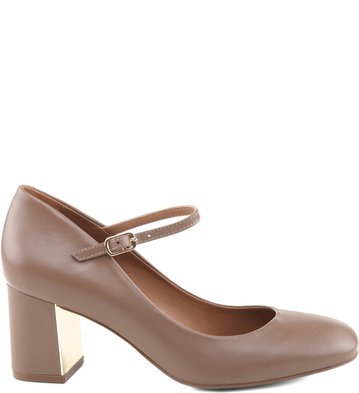 Scarpin Couro Taupe